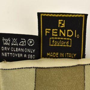"""Fendi Accessories - FENDI: Beige Geo & """"FF"""" Logo, 100% Silk Scarf (aj)"""